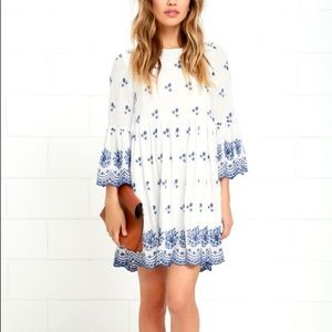 Lulus With a Whisper Blue & Ivory Dress